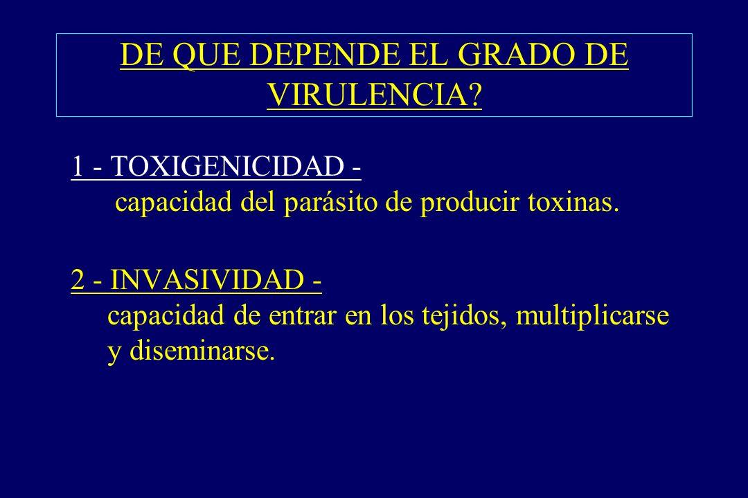 DE QUE DEPENDE EL GRADO DE VIRULENCIA? §1 - TOXIGENICIDAD - capacidad del parásito de producir toxinas. §2 - INVASIVIDAD - capacidad de entrar en los