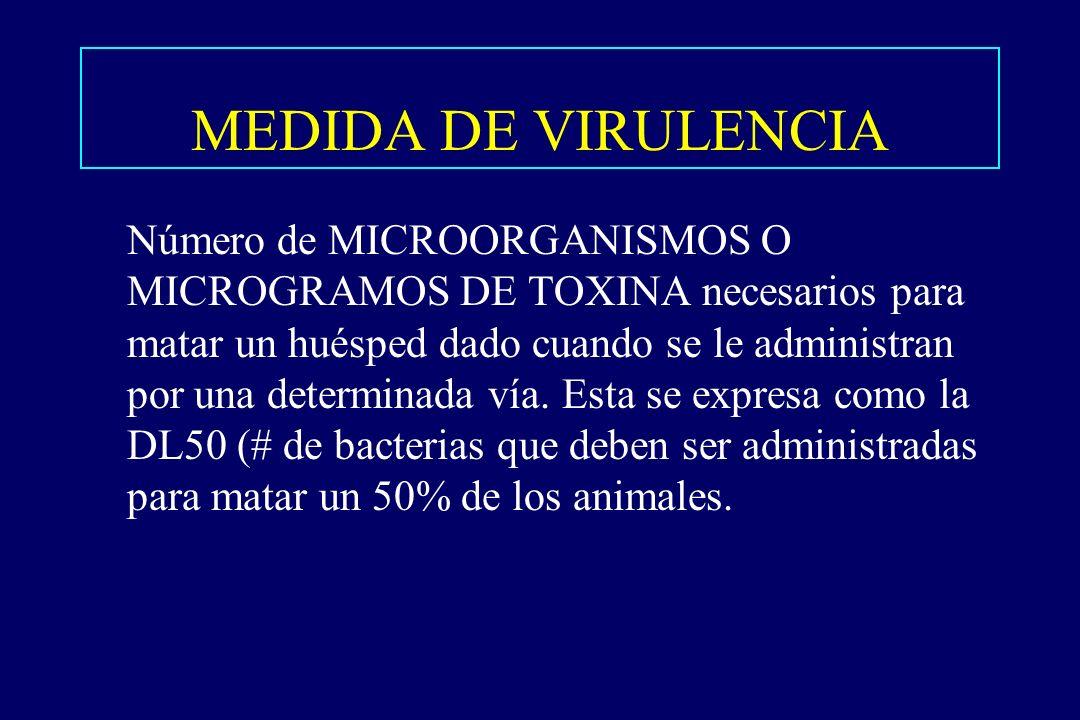 MEDIDA DE VIRULENCIA §Número de MICROORGANISMOS O MICROGRAMOS DE TOXINA necesarios para matar un huésped dado cuando se le administran por una determi