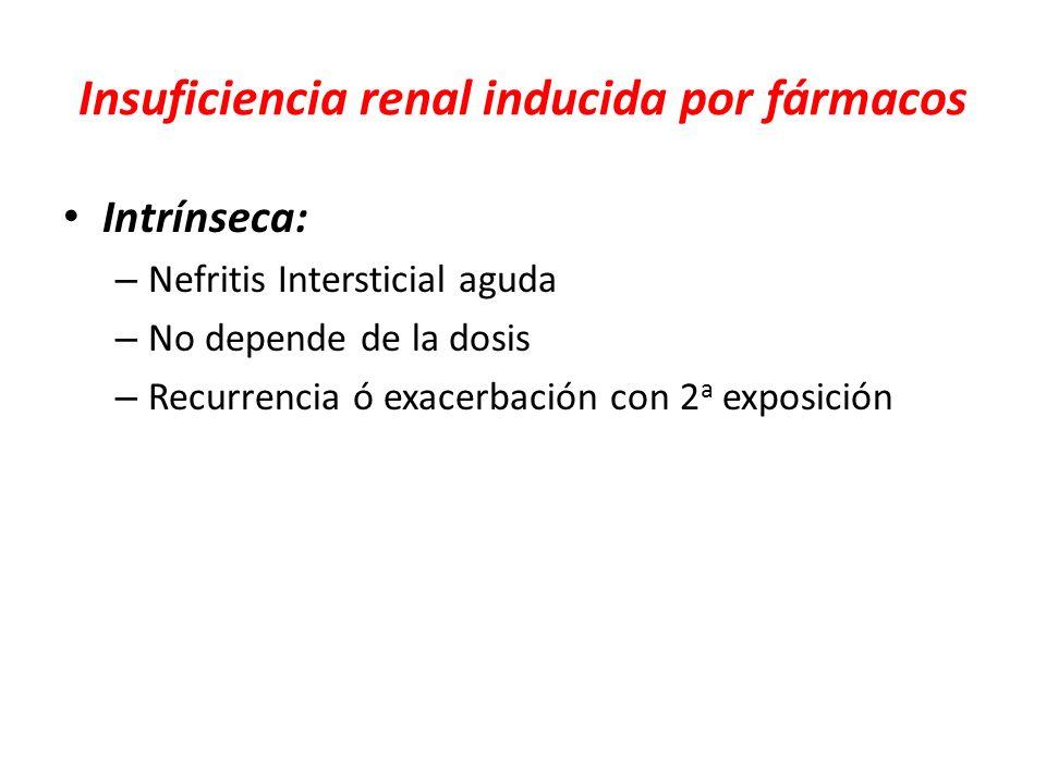 Insuficiencia renal inducida por fármacos Intrínseca: – Nefritis Intersticial aguda – No depende de la dosis – Recurrencia ó exacerbación con 2 a expo