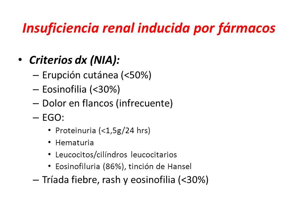 Insuficiencia renal inducida por fármacos Criterios dx (NIA): – Erupción cutánea (<50%) – Eosinofilia (<30%) – Dolor en flancos (infrecuente) – EGO: P