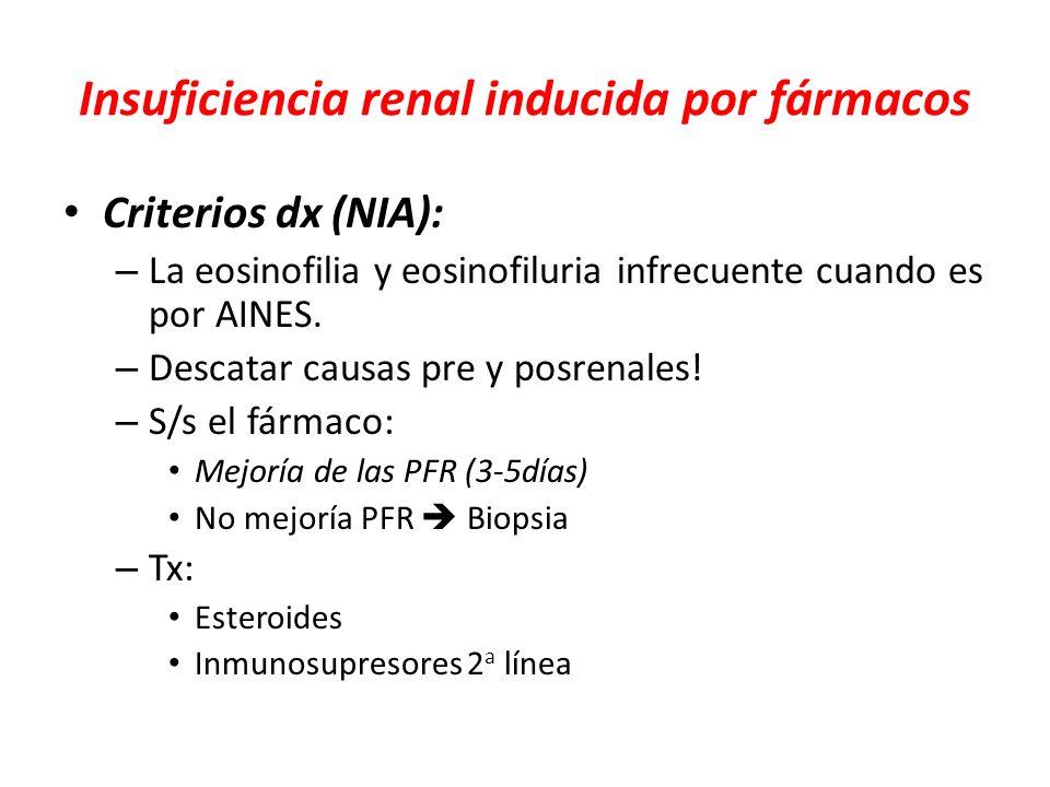 Insuficiencia renal inducida por fármacos Criterios dx (NIA): – La eosinofilia y eosinofiluria infrecuente cuando es por AINES. – Descatar causas pre
