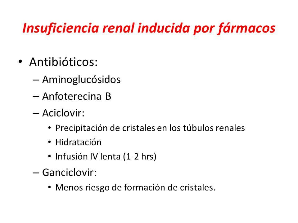 Insuficiencia renal inducida por fármacos Antibióticos: – Aminoglucósidos – Anfoterecina B – Aciclovir: Precipitación de cristales en los túbulos rena