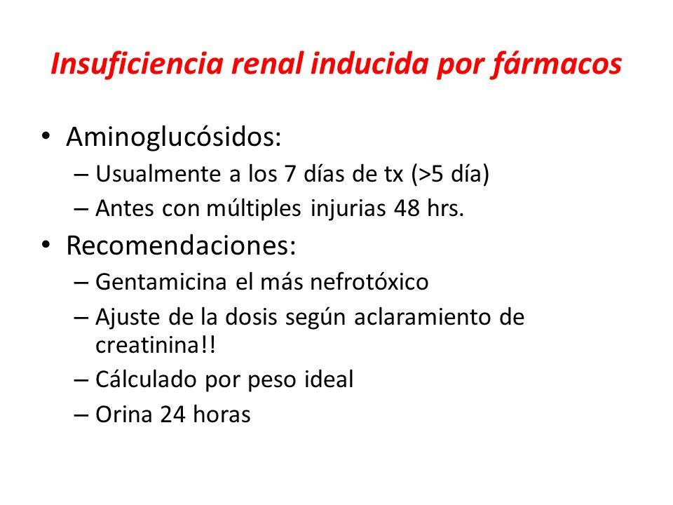 Insuficiencia renal inducida por fármacos Aminoglucósidos: – Usualmente a los 7 días de tx (>5 día) – Antes con múltiples injurias 48 hrs. Recomendaci