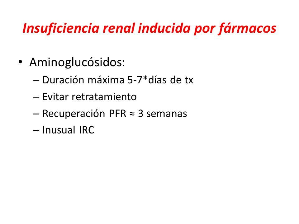 Insuficiencia renal inducida por fármacos Aminoglucósidos: – Duración máxima 5-7*días de tx – Evitar retratamiento – Recuperación PFR 3 semanas – Inus