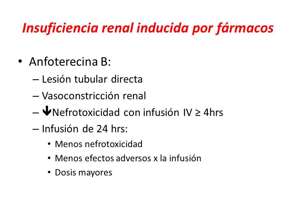 Insuficiencia renal inducida por fármacos Anfoterecina B: – Lesión tubular directa – Vasoconstricción renal – Nefrotoxicidad con infusión IV 4hrs – In