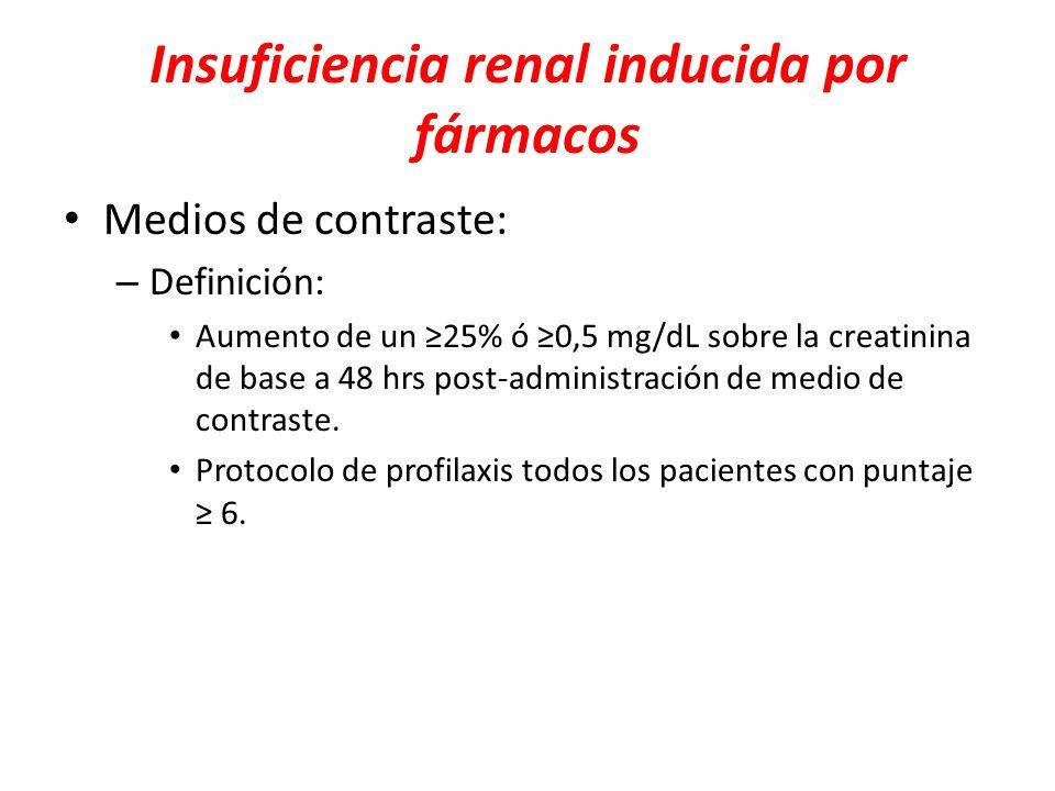 Insuficiencia renal inducida por fármacos Medios de contraste: – Definición: Aumento de un 25% ó 0,5 mg/dL sobre la creatinina de base a 48 hrs post-a
