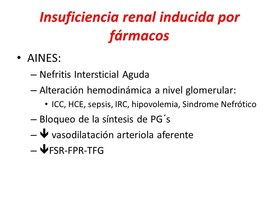 Insuficiencia renal inducida por fármacos AINES: – Nefritis Intersticial Aguda – Alteración hemodinámica a nivel glomerular: ICC, HCE, sepsis, IRC, hi