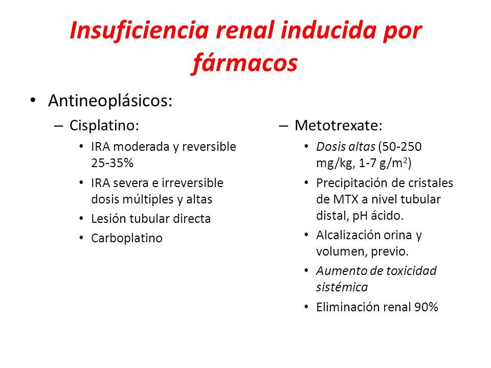 Insuficiencia renal inducida por fármacos Antineoplásicos: – Cisplatino: IRA moderada y reversible 25-35% IRA severa e irreversible dosis múltiples y