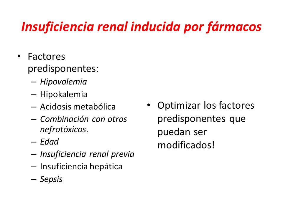 Insuficiencia renal inducida por fármacos Factores predisponentes: – Hipovolemia – Hipokalemia – Acidosis metabólica – Combinación con otros nefrotóxi