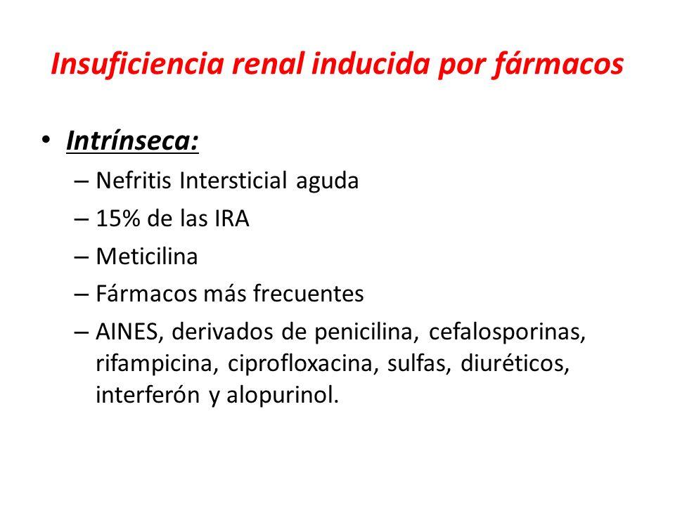 Insuficiencia renal inducida por fármacos Intrínseca: – Nefritis Intersticial aguda – 15% de las IRA – Meticilina – Fármacos más frecuentes – AINES, d