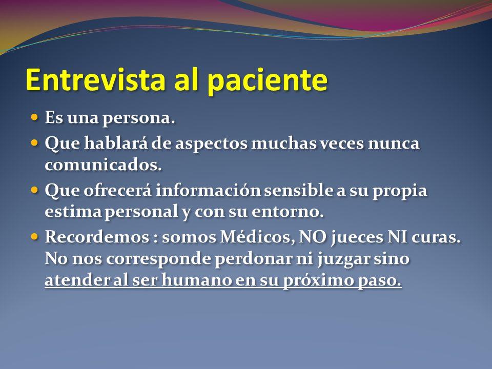 Entrevista al paciente Es una persona. Que hablará de aspectos muchas veces nunca comunicados. Que ofrecerá información sensible a su propia estima pe