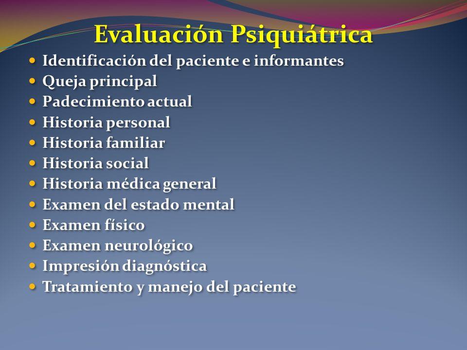 Evaluación Psiquiátrica Identificación del paciente e informantes Queja principal Padecimiento actual Historia personal Historia familiar Historia soc