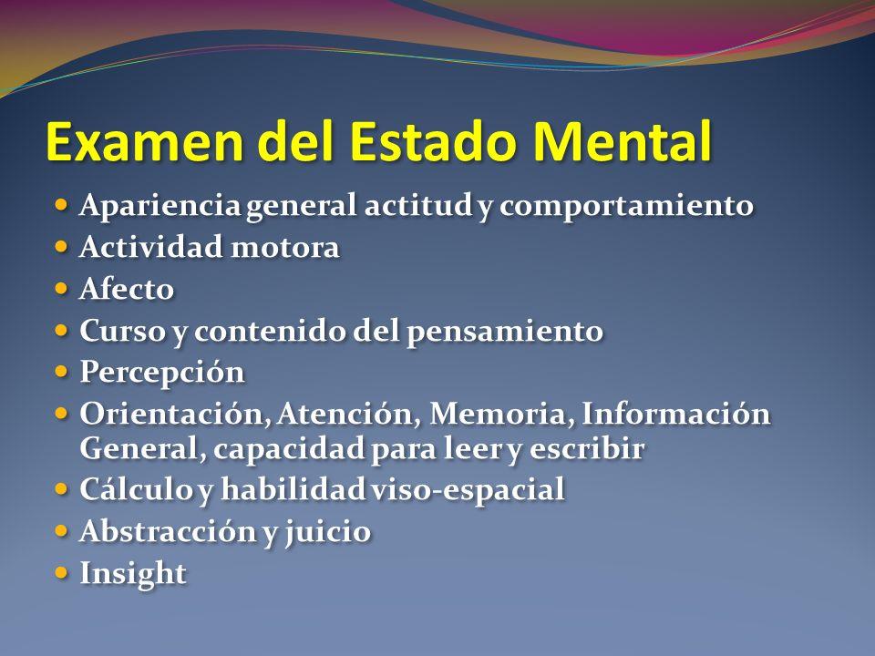Examen del Estado Mental Apariencia general actitud y comportamiento Actividad motora Afecto Curso y contenido del pensamiento Percepción Orientación,