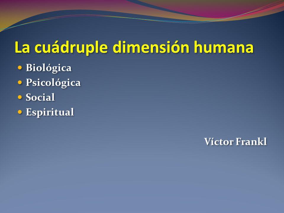 La cuádruple dimensión humana Biológica Psicológica Social Espiritual Víctor Frankl Biológica Psicológica Social Espiritual Víctor Frankl