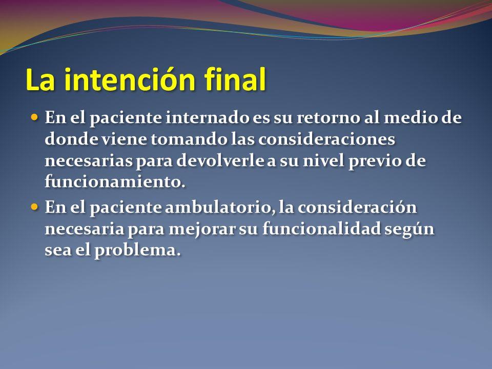 La intención final En el paciente internado es su retorno al medio de donde viene tomando las consideraciones necesarias para devolverle a su nivel pr