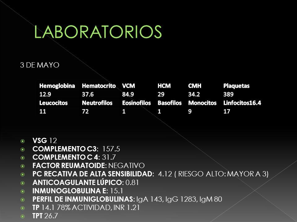 PENDIENTE : UROCULTIVO, VALORACIÓN ESCLEROSIS MULTIPLE, ANTI EBV, IgG ANTINEUROMIELITIS ÓPTICA, PERFIL DE MENINGOENCEFALITIS EN LCR PENDIENTE, PCR DNA HERPES VIRUS 6, COMPLEMENTO C2, IL 6, ANTI DNA DESNATURALIZADO, ANCA, CH 50, C1Q, ANTINUCLEARES F, ANTI DNA NATIVO, ANTI ENA, CULTIVO DE LCR, PCR MICOBACTERIAS, PERFIL ANTIFOSFOLÍPIDOS