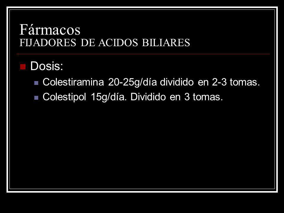 Fármacos FIJADORES DE ACIDOS BILIARES Dosis: Colestiramina 20-25g/día dividido en 2-3 tomas. Colestipol 15g/día. Dividido en 3 tomas.