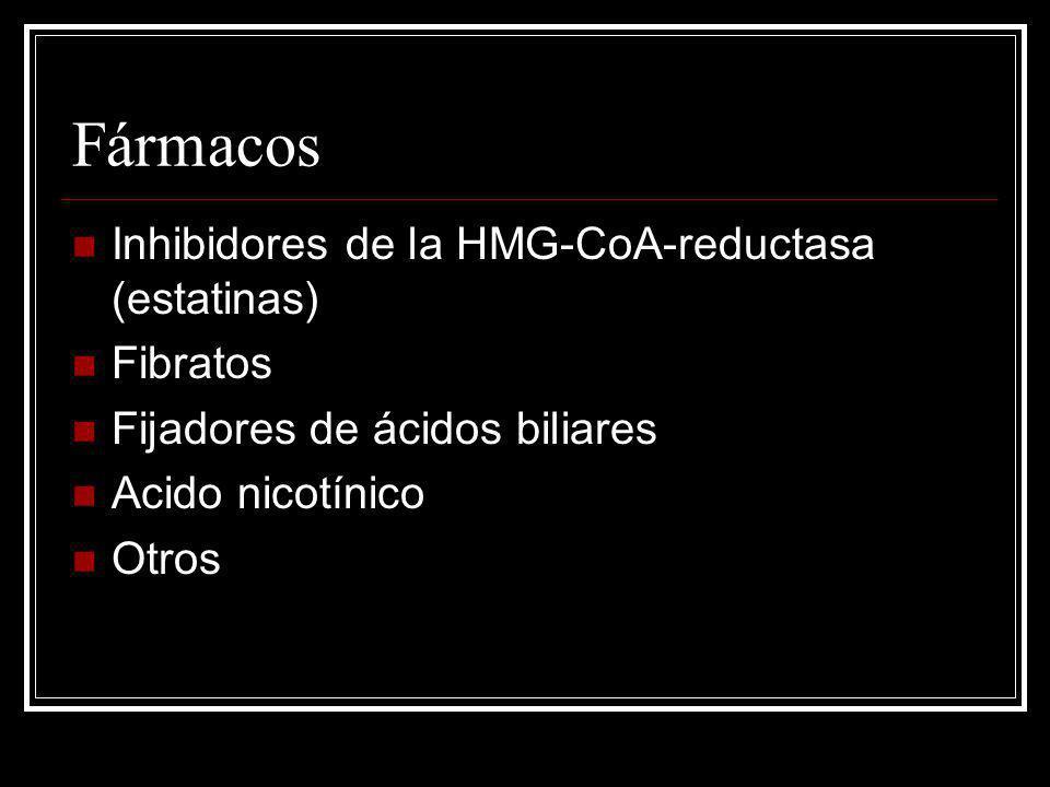 Fármacos Fibratos Efectos: Disminución TG´s 20-50% Aumento HDL 10-20% Leve (5-20%) ó ninguna disminución de LDL.