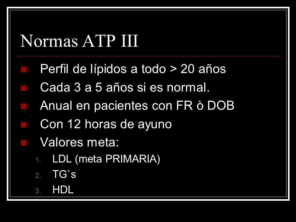 Normas ATP III Perfil de lípidos a todo > 20 años Cada 3 a 5 años si es normal. Anual en pacientes con FR ò DOB Con 12 horas de ayuno Valores meta: 1.