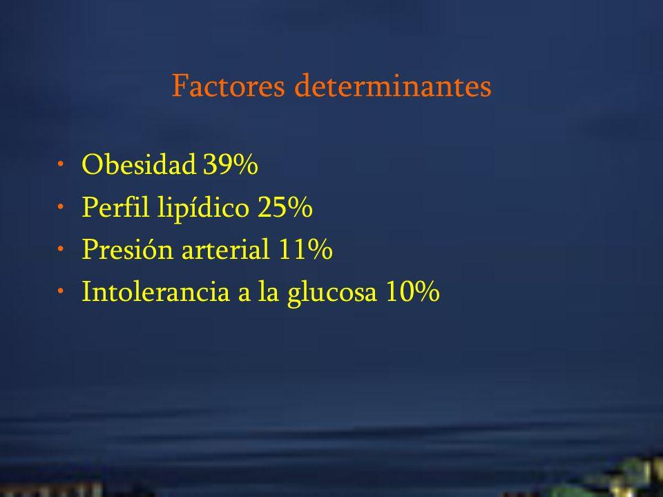 Factores determinantes Obesidad 39% Perfil lipídico 25% Presión arterial 11% Intolerancia a la glucosa 10%