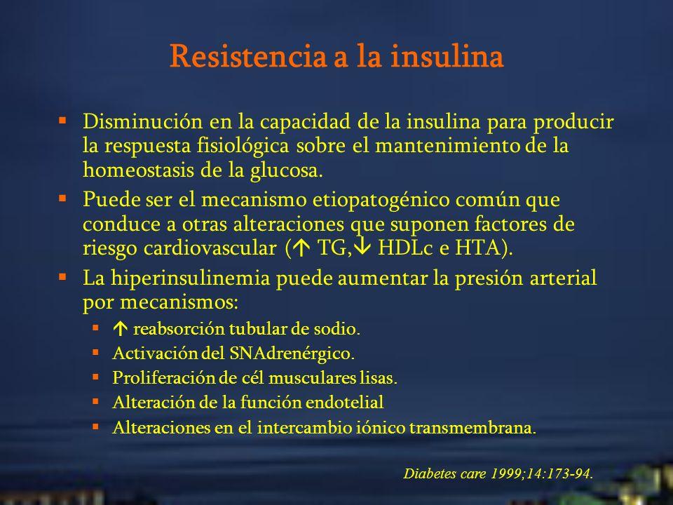 Resistencia a la insulina Disminución en la capacidad de la insulina para producir la respuesta fisiológica sobre el mantenimiento de la homeostasis d