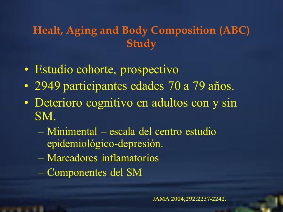 Healt, Aging and Body Composition (ABC) Study Estudio cohorte, prospectivo 2949 participantes edades 70 a 79 años. Deterioro cognitivo en adultos con