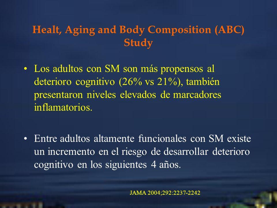 Healt, Aging and Body Composition (ABC) Study Los adultos con SM son más propensos al deterioro cognitivo (26% vs 21%), también presentaron niveles el