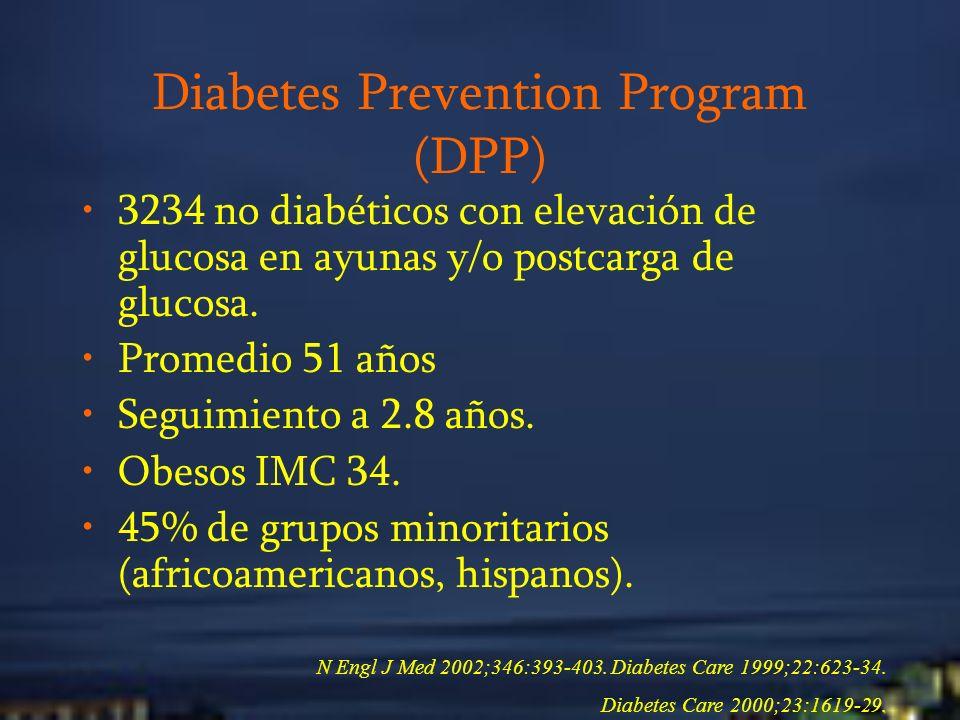 Diabetes Prevention Program (DPP) 3234 no diabéticos con elevación de glucosa en ayunas y/o postcarga de glucosa. Promedio 51 años Seguimiento a 2.8 a