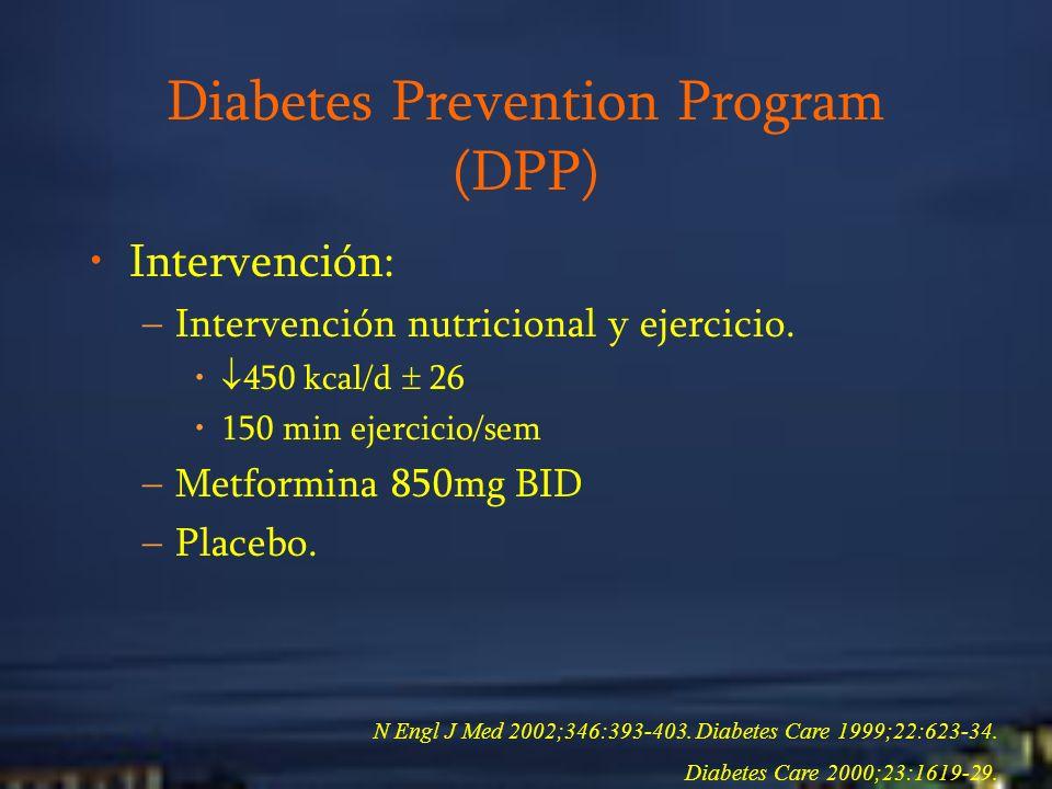 Diabetes Prevention Program (DPP) Intervención: –Intervención nutricional y ejercicio. 450 kcal/d 26 150 min ejercicio/sem –Metformina 850mg BID –Plac