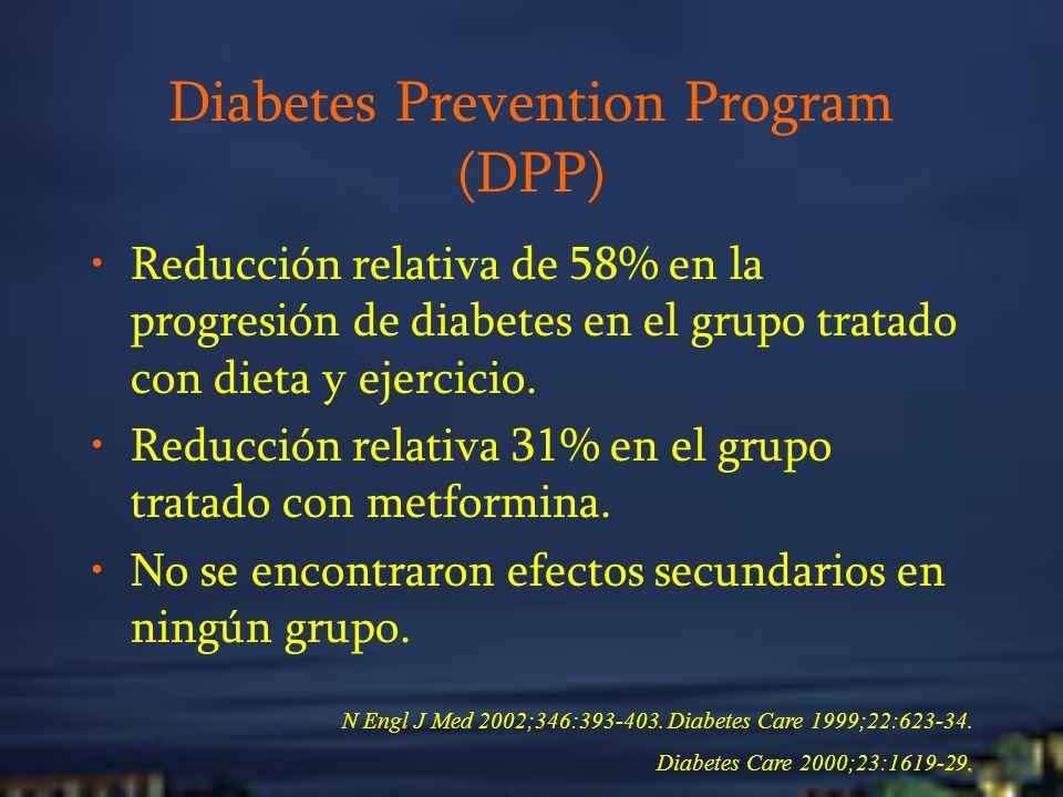 Diabetes Prevention Program (DPP) Reducción relativa de 58% en la progresión de diabetes en el grupo tratado con dieta y ejercicio. Reducción relativa