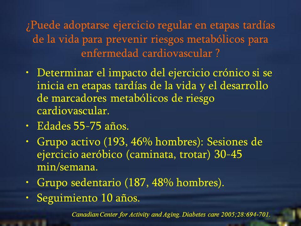 ¿Puede adoptarse ejercicio regular en etapas tardías de la vida para prevenir riesgos metabólicos para enfermedad cardiovascular ? Determinar el impac