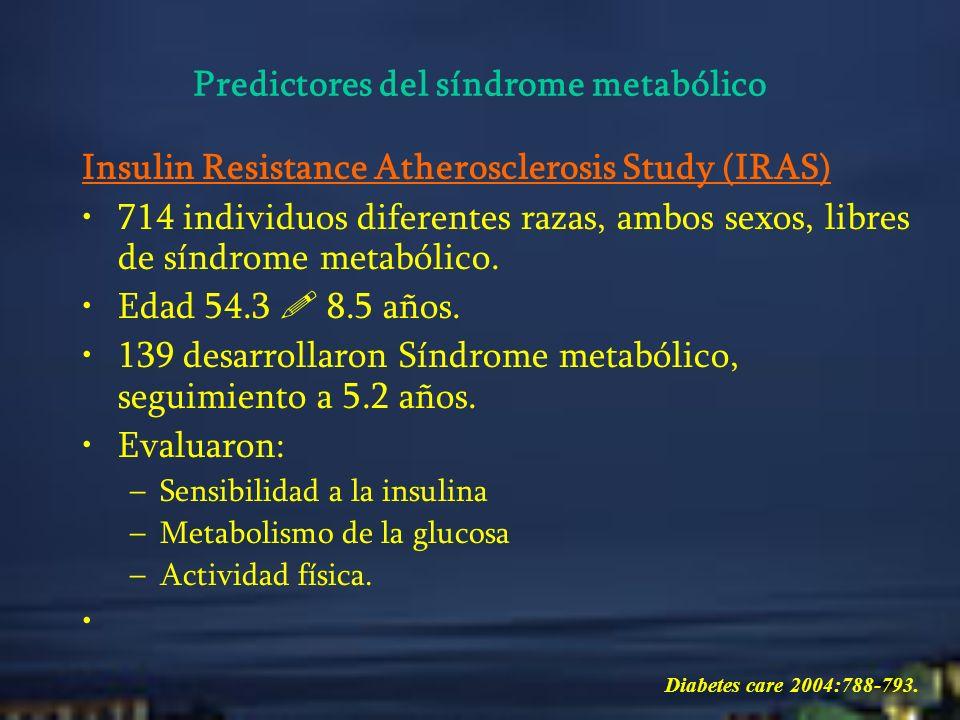 Insulin Resistance Atherosclerosis Study (IRAS) La circunferencia abdominal (>102cm), glicemia en ayunas, se asocian con mayor riesgo de desarrollo de SM – incidencia de 46% a los 5 años.