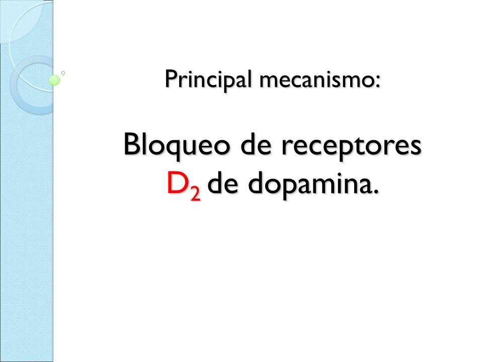 Principal mecanismo: Bloqueo de receptores D 2 de dopamina.