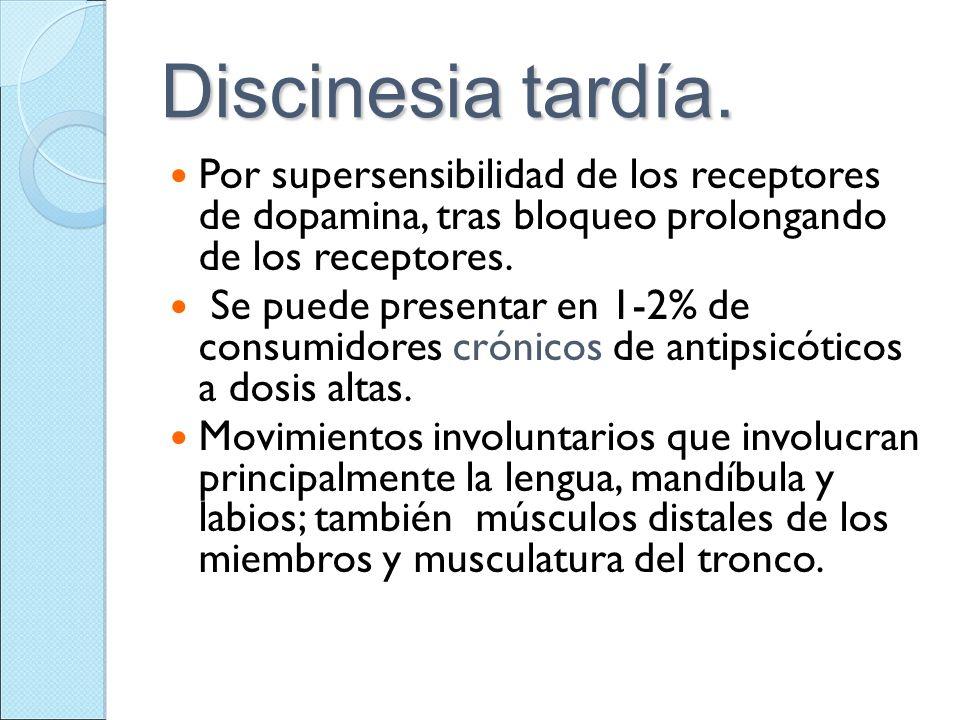 Discinesia tardía. Por supersensibilidad de los receptores de dopamina, tras bloqueo prolongando de los receptores. Se puede presentar en 1-2% de cons