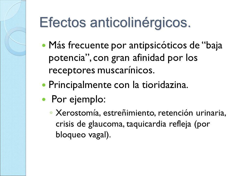 Efectos anticolinérgicos. Más frecuente por antipsicóticos de baja potencia, con gran afinidad por los receptores muscarínicos. Principalmente con la
