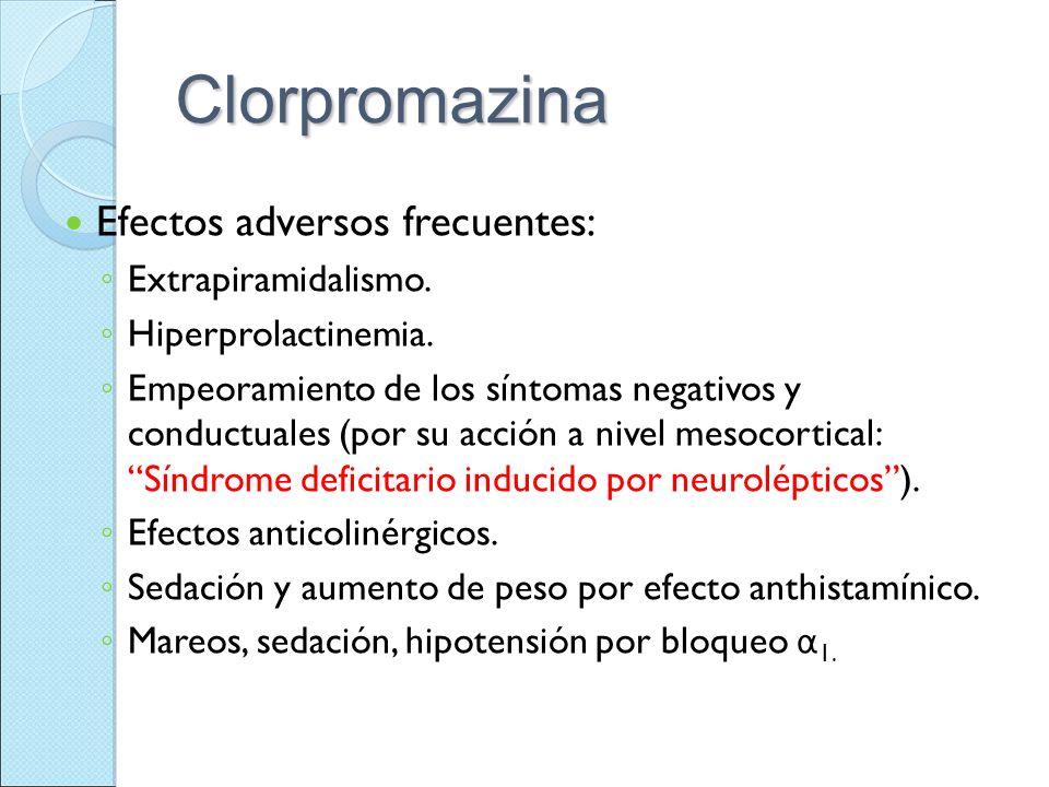 Clorpromazina Efectos adversos frecuentes: Extrapiramidalismo. Hiperprolactinemia. Empeoramiento de los síntomas negativos y conductuales (por su acci