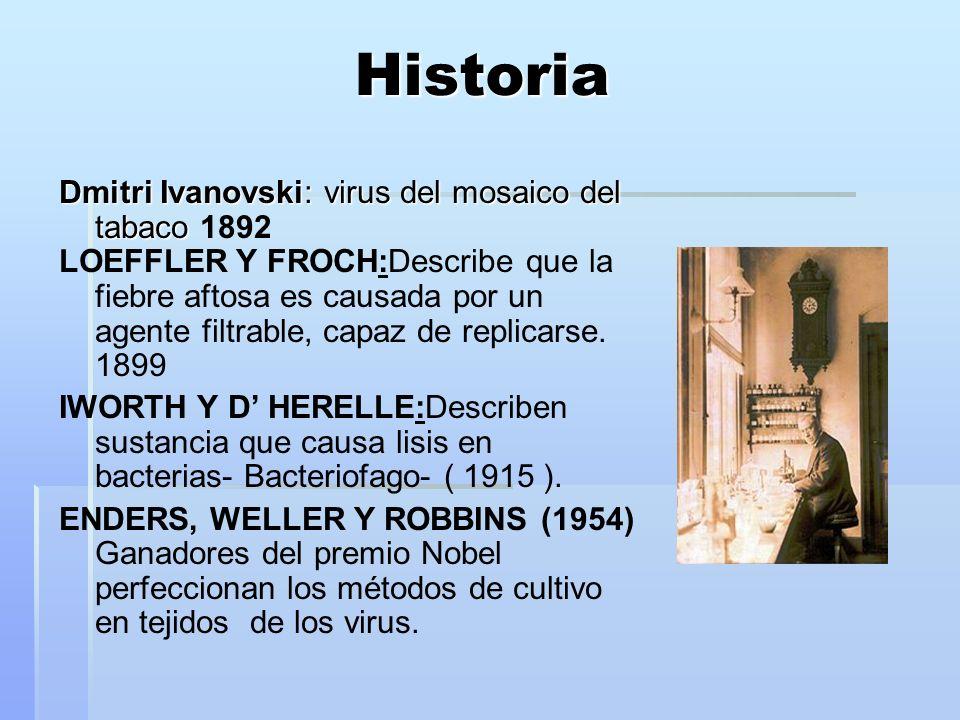 Historia Dmitri Ivanovski: virus del mosaico del tabaco Dmitri Ivanovski: virus del mosaico del tabaco 1892 LOEFFLER Y FROCH:Describe que la fiebre af