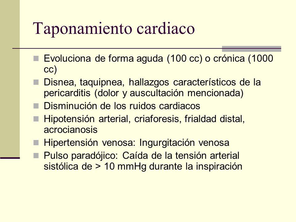 Taponamiento cardiaco Evoluciona de forma aguda (100 cc) o crónica (1000 cc) Disnea, taquipnea, hallazgos característicos de la pericarditis (dolor y