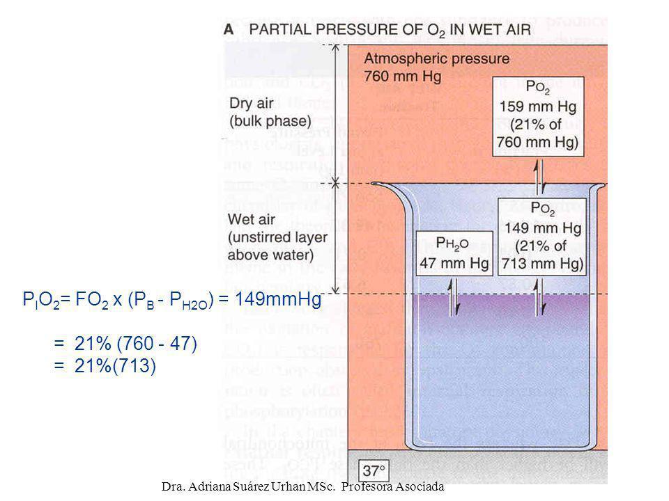 P I O 2 = FO 2 x (P B - P H2O ) = 149mmHg = 21% (760 - 47) = 21%(713) Dra. Adriana Suárez Urhan MSc. Profesora Asociada