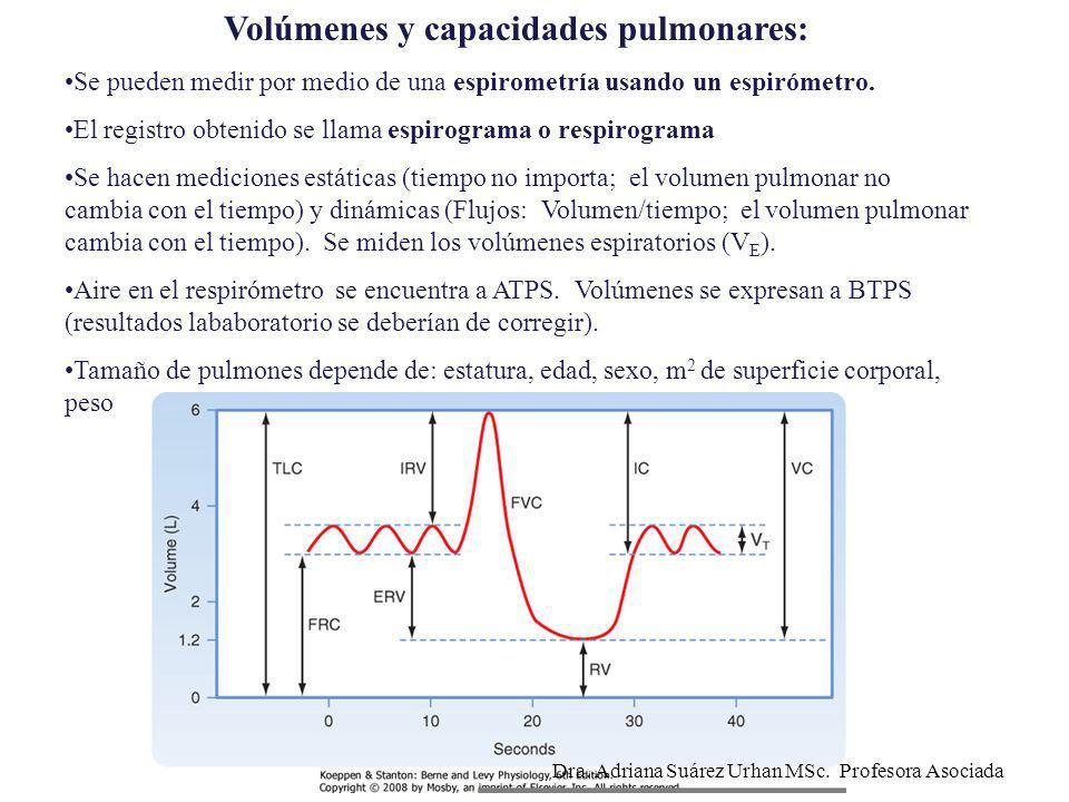 Volúmenes y capacidades pulmonares: Se pueden medir por medio de una espirometría usando un espirómetro. El registro obtenido se llama espirograma o r