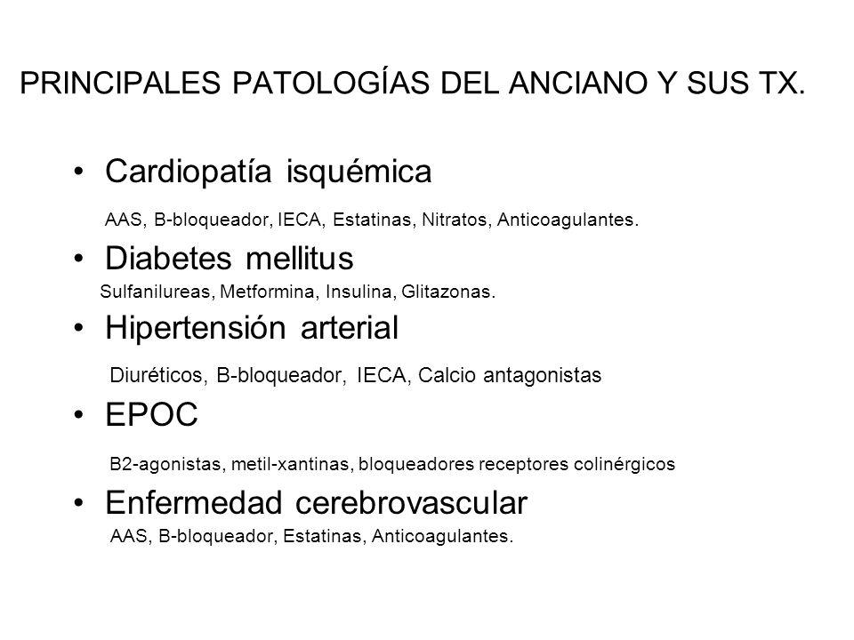 PRINCIPALES PATOLOGÍAS DEL ANCIANO Y SUS TX. Cardiopatía isquémica AAS, B-bloqueador, IECA, Estatinas, Nitratos, Anticoagulantes. Diabetes mellitus Su