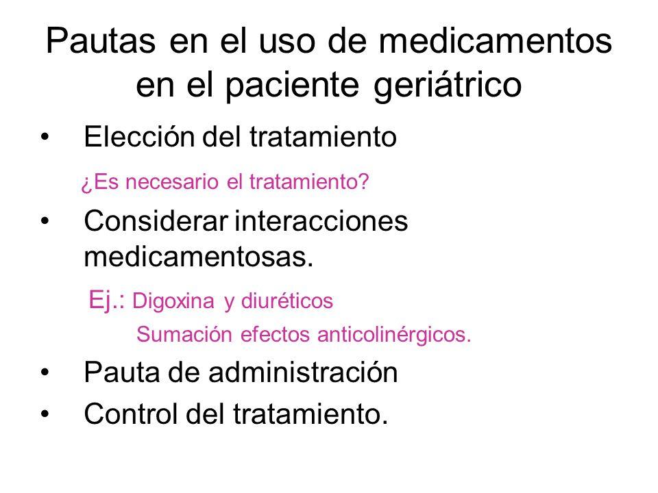 Pautas en el uso de medicamentos en el paciente geriátrico Elección del tratamiento ¿Es necesario el tratamiento? Considerar interacciones medicamento