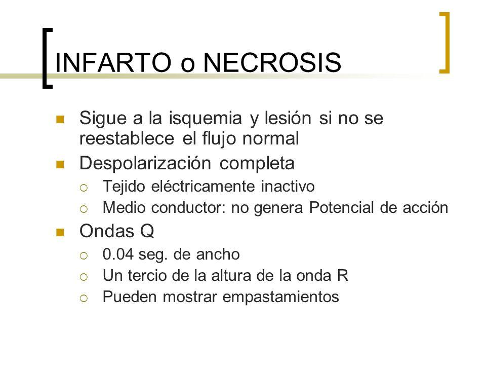 INFARTO o NECROSIS Sigue a la isquemia y lesión si no se reestablece el flujo normal Despolarización completa Tejido eléctricamente inactivo Medio con