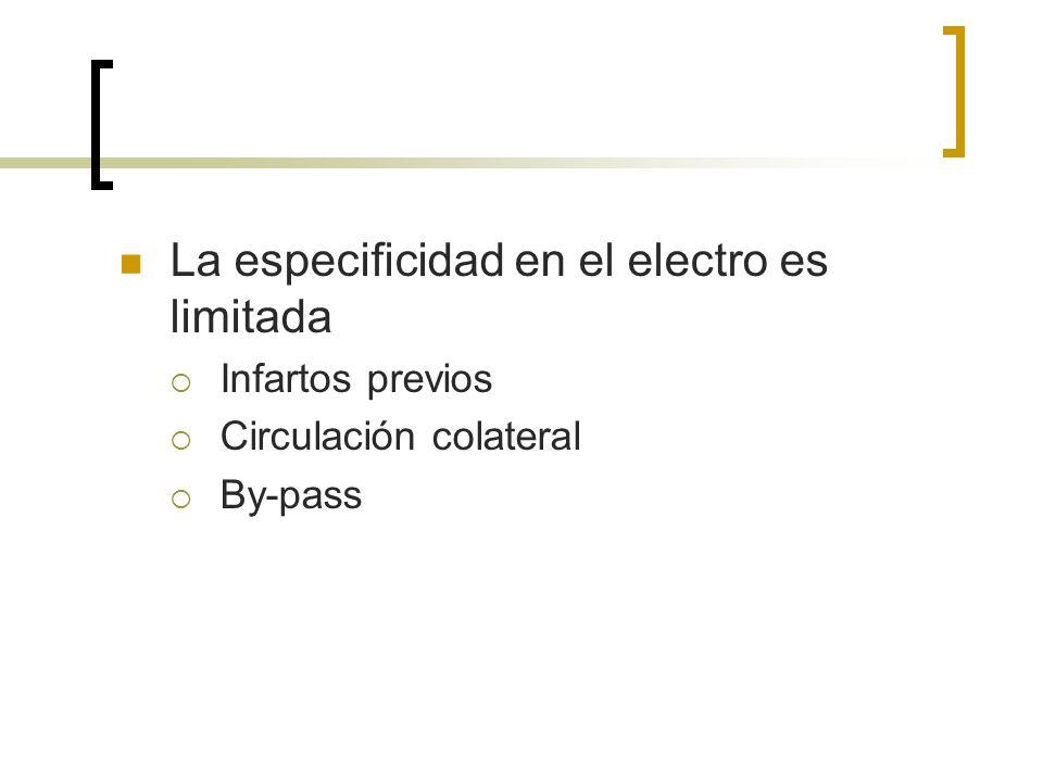 La especificidad en el electro es limitada Infartos previos Circulación colateral By-pass