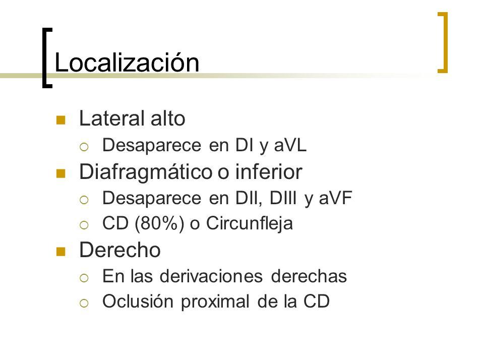 Localización Lateral alto Desaparece en DI y aVL Diafragmático o inferior Desaparece en DII, DIII y aVF CD (80%) o Circunfleja Derecho En las derivaci