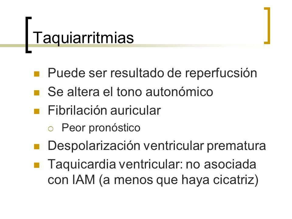 Taquiarritmias Puede ser resultado de reperfucsión Se altera el tono autonómico Fibrilación auricular Peor pronóstico Despolarización ventricular prem