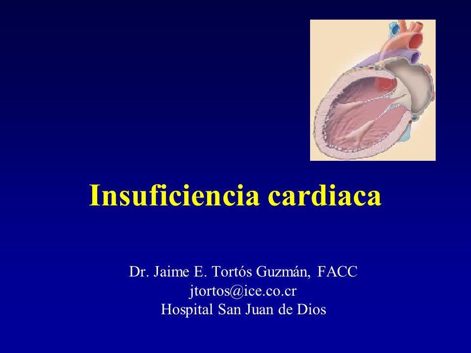 Insuficiencia cardiaca Dr. Jaime E. Tortós Guzmán, FACC jtortos@ice.co.cr Hospital San Juan de Dios