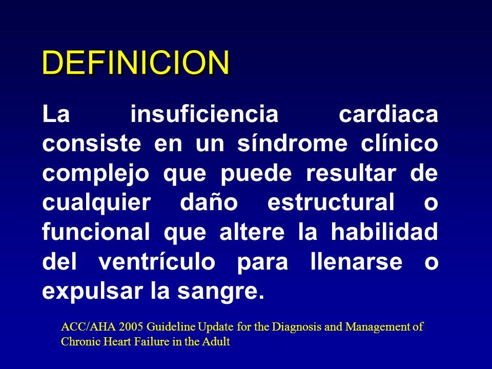 Definición de insuficiencia cardiaca Síntomas típicos de insuficiencia cardiaca (disnea en reposo o con ejercicio, fatiga, cansancio, edema podálico) y Signos típicos de insuficiencia cardiaca (taquicardia, taquipnea, crépitos pulmonares, derrame pleural, ingurgitación yugular, edema periférico, hepatomegalia) Evidencia objetiva de una anormalidad estructural o funcional del corazón en reposo (cardiomegalia, 3R, soplos, ecocardiograma anormal, péptido natriurético aumentado) ESC Guidelines for the diagnosis and treatment of acute and chronic heart failure 2008.