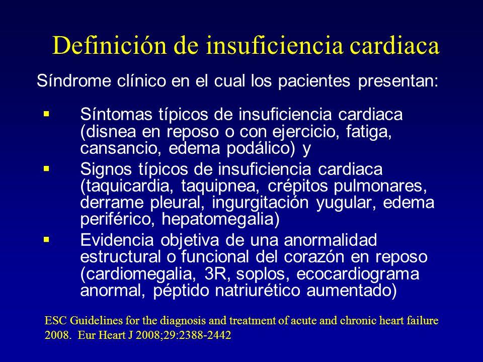 IC como un diagnóstico clínico Caliente y seco PCP normal IC normal (compensada) Caliente y húmedo PCP elevada IC normal Frío y seco PCP /normal IC Frío y húmedo PCP IC SI NO Congestión en reposo NO Hipoperfusión en reposo Stevenson LW Eur J Heart Fail 1999 PCP = presión capilar pulmonar IC = índice cardiaco