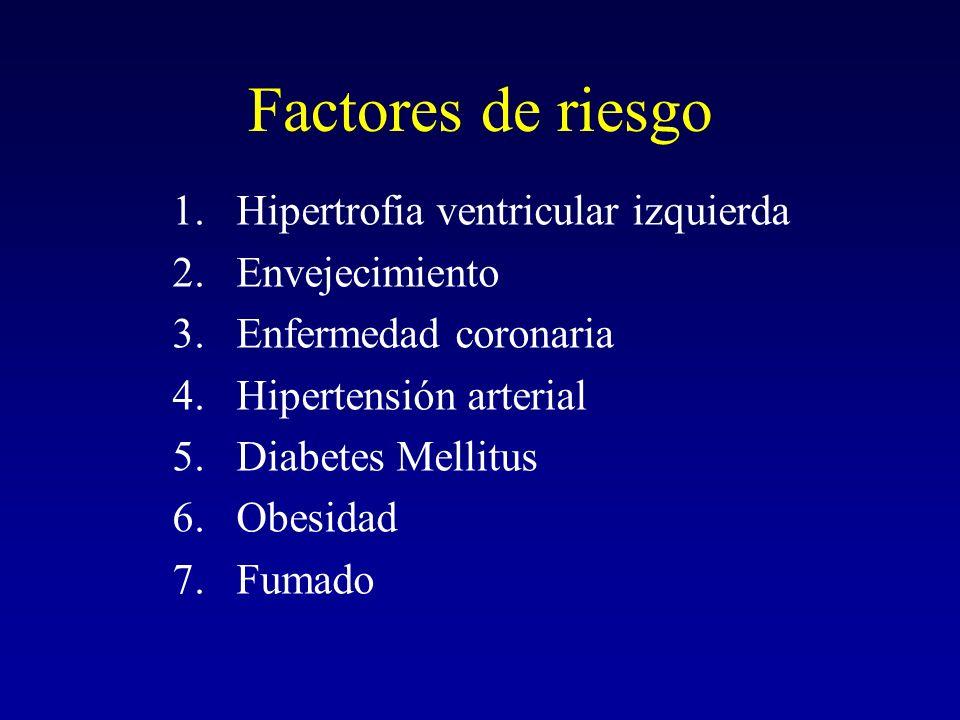 Factores de riesgo 1.Hipertrofia ventricular izquierda 2.Envejecimiento 3.Enfermedad coronaria 4.Hipertensión arterial 5.Diabetes Mellitus 6.Obesidad